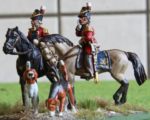 Major-General Sir John Byng, with ADC and foxhounds
