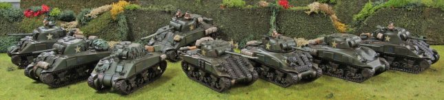 Shermans lined up in bocage field