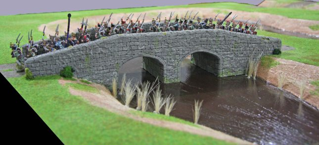 Napoleonic French crossing the large bridge