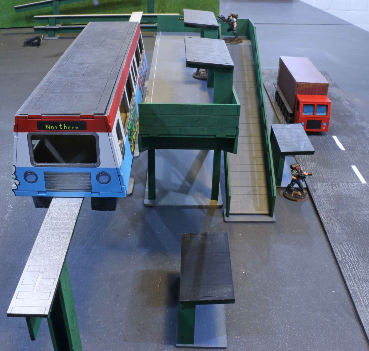 Trucks, forklifts, cargo and a Monorail